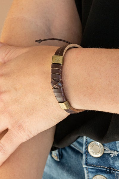 Drifter Decor - Brown Leather with Brass fittings sliding knot/pull tight Bracelet