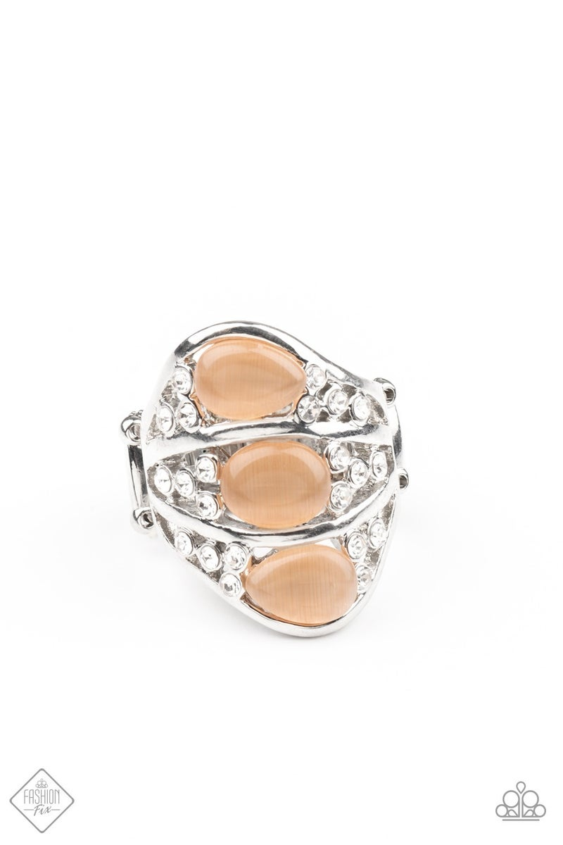 Underrated Shimmer - Silver with Orange Moonstone Gems Ring
