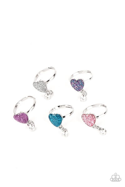 Assorted Colors Glitter Heart with Rhinestone charm adjustable Rings for Kids or the Kid at Heart