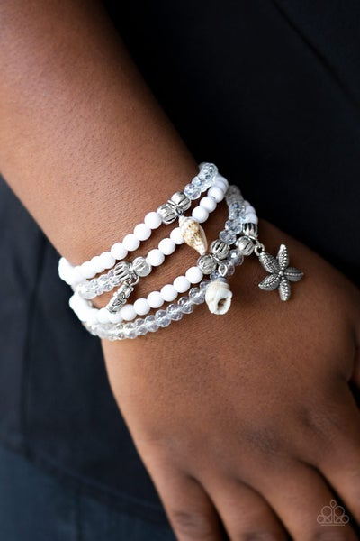 Ocean Breeze - White Beads and Iridescent Crystals with Beachy Charms Stretch Bracelets