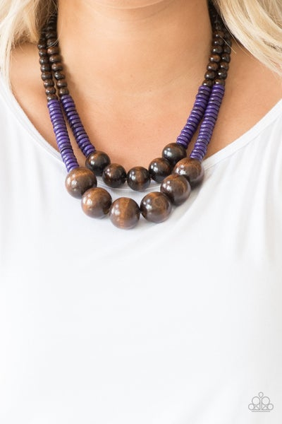 Cancun Cast Away - Purple Wooden Beads with Large Brown Wooden Beads Necklace & Earrings