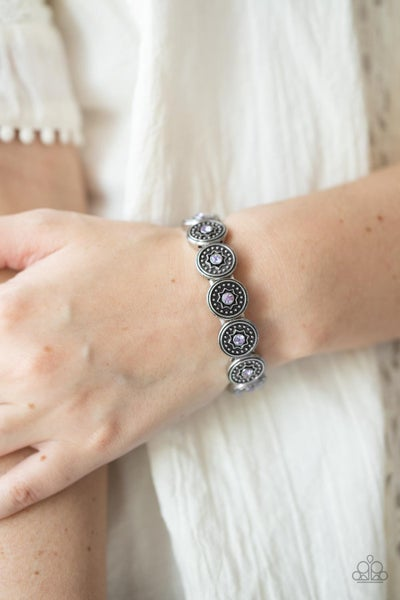 Colorfully Celestial - Purple - Violet glittery rhinestones dotted into antique framed Stretch Bracelet