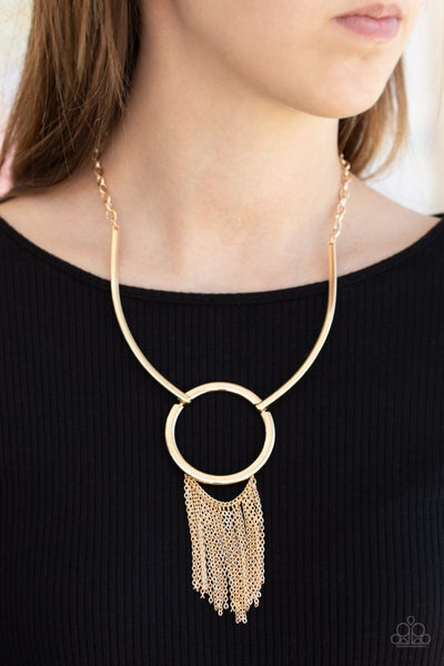 Pre-Sale Pharaoh Paradise - Gold Statement with Fringe Necklace & Earrings