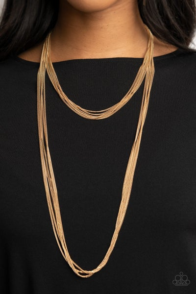 Save Your TIERS - Gold multi-layered Necklace & Earrings