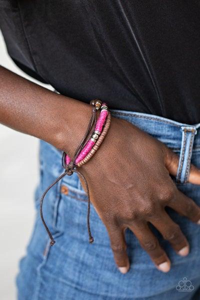 Totally Tiki - Pink & Brown Pull-Tight Bracelet