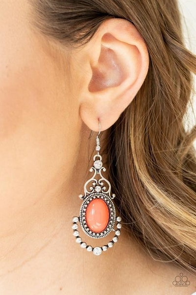 CAMEO and Juliet Silver Filigree Frame with Rhinestones and Orange Bead Earrings