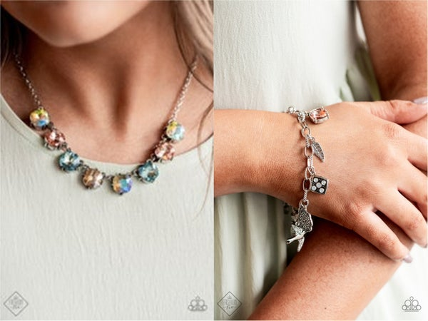 Dreamy Decorum and Fancifully Flighty - Silver with Multi-colored Iridescent Rhinestones Necklace, Earrings & Bracelet Set