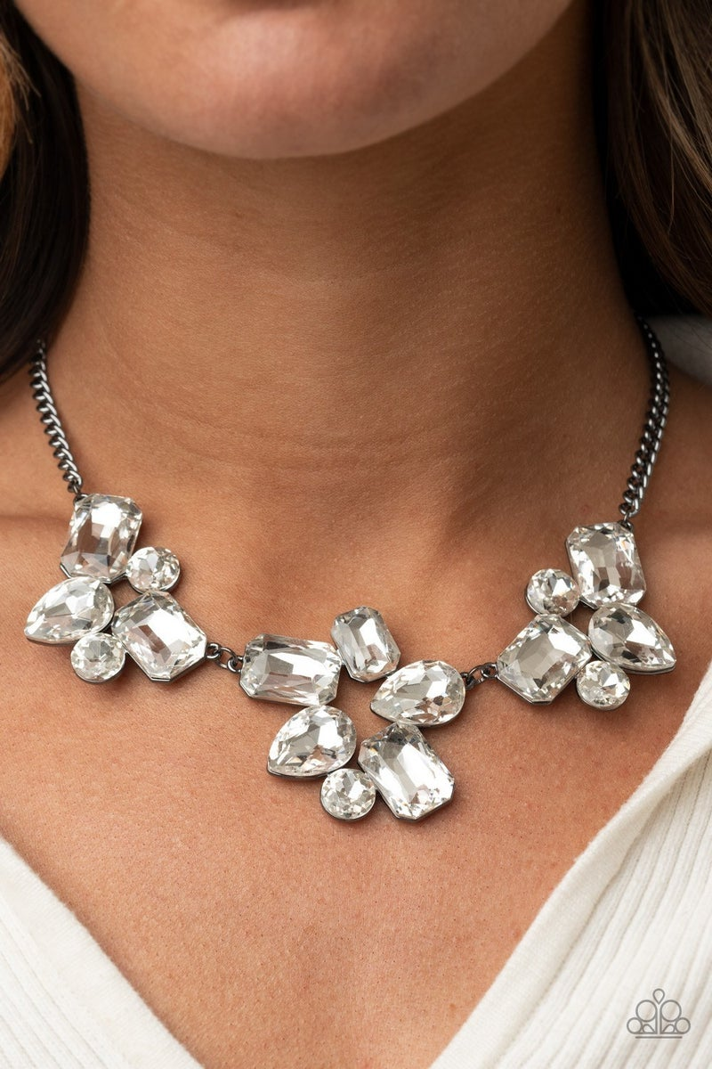 Galactic Goddess - Gunmetal with White Rhinestone Statement Necklace & Earrings