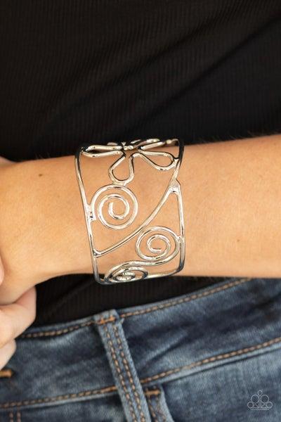 Groovy Sensations - Silver Floral pattern Cuff Bracelet