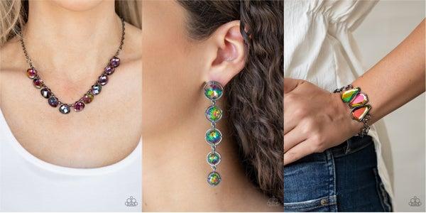 Catch a Fallen Star, Drippin in Starlight & Raw Radiance - OIl Spill Necklace, Earrings (upgraded) Earrings &  Bracelet 3 piece Set