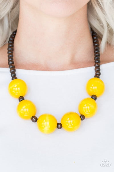Oh My Miami - Brown Wooden Beads with Large Yellow Wooden Beads Necklace & Earrings
