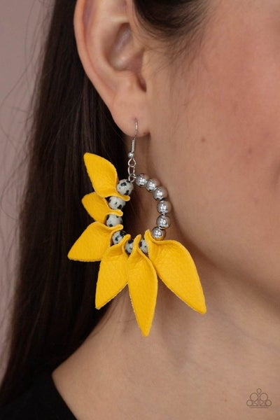 Pre-Order Flower Child Fever - Yellow Leather Petals around Silver Beads Fringe Earrings