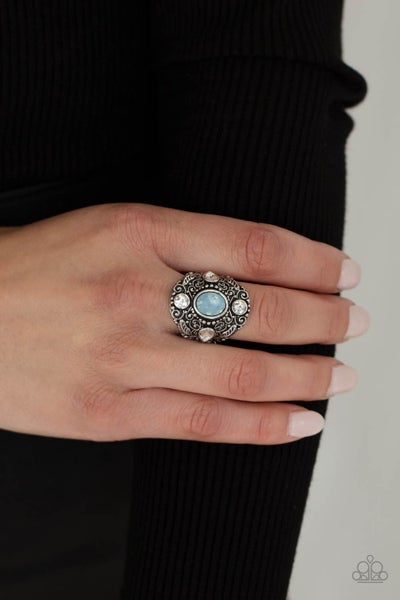 In The Limelight - Blue Moonstone in Silver filigree & White Rhinestones Adjustable Ring