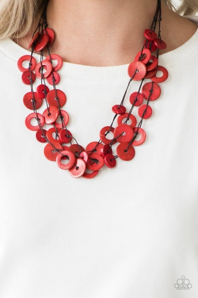 Wonderfully Walla Walla - Layers of Brown cordage with Red Wooden Beads Necklace & Earrings