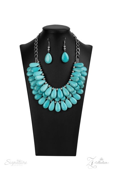 The Amy - Silver with Turquoise Teardrops Necklace  2020 Zi Collection