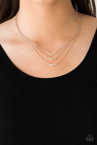 Pretty Petite - 3 Rows of Rose Gold Chains with White Rhinestones Necklace & Earrings