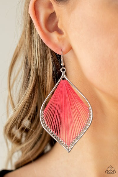 String Theory - Silver mandala-shaped frame wrapped in Pink String Earrings