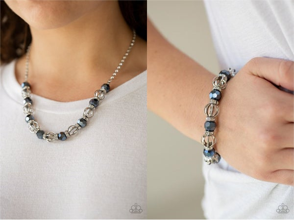 Metro Majestic & Metro Squad - Silver with Faceted Blue Metallic Beads separated by White Rhinestone encrusted rings Necklace, Earrings & Bracelet Set