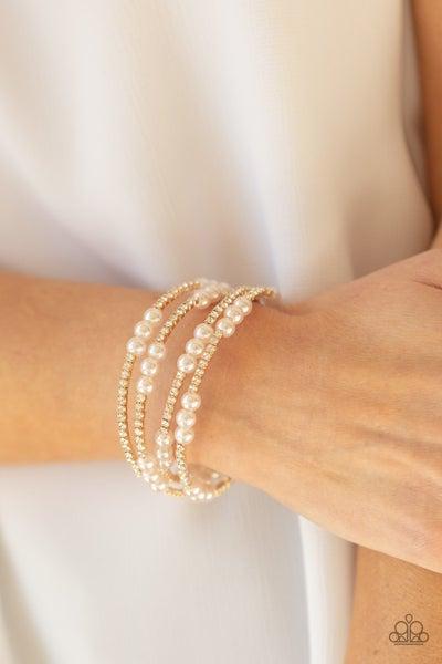 Pre-Sale Vintage Romance - Gold Pearl with White Rhinestones Coil Bracelet