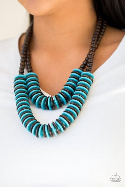 Dominican Disco - Two rows of Brown & Blue Wooden Discs Necklace & Earrings