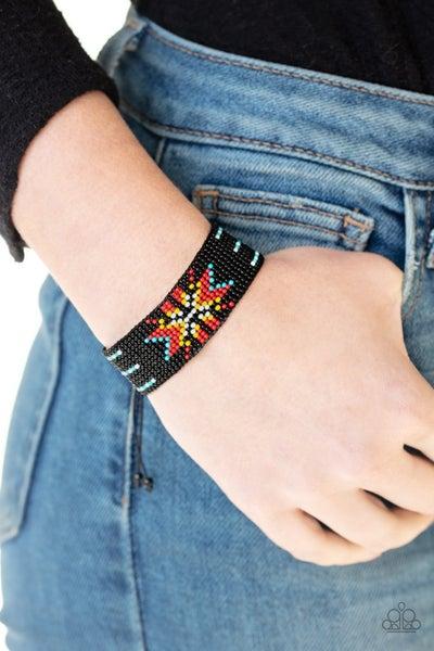 Beaded Badlands - Black and Multicolor Seed Bead slip knot/pull tight Bracelet