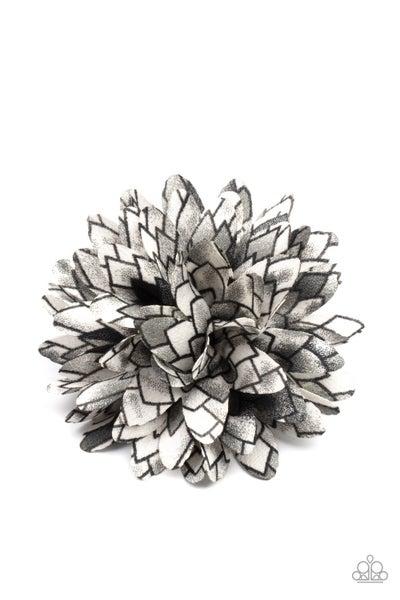 Vanguard Gardens - Black & White geometric pattern Hair Bow Clip