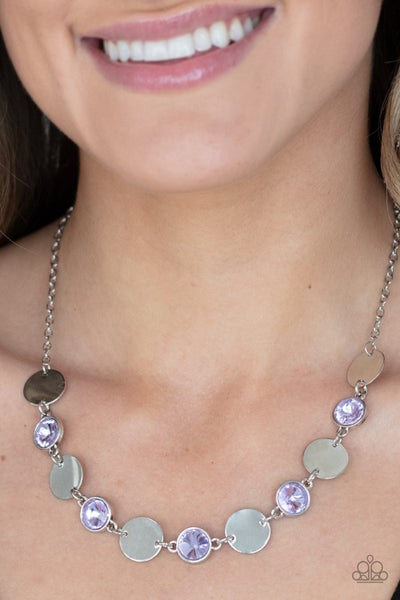 Refined Reflections - Purple Iridescent gems & Silver discs Necklace & Earrings
