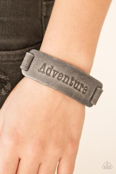 """Take the Scenic Route - Silver Leather Embossed with the word """"Adventure"""" Snap Bracelet"""