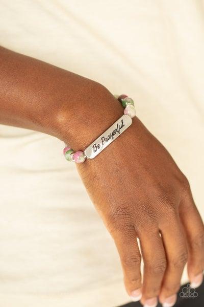 "Be Prayerful - Purple/Green Marbleized Beaded ""Be Prayerful"" center Stretch Bracelet"