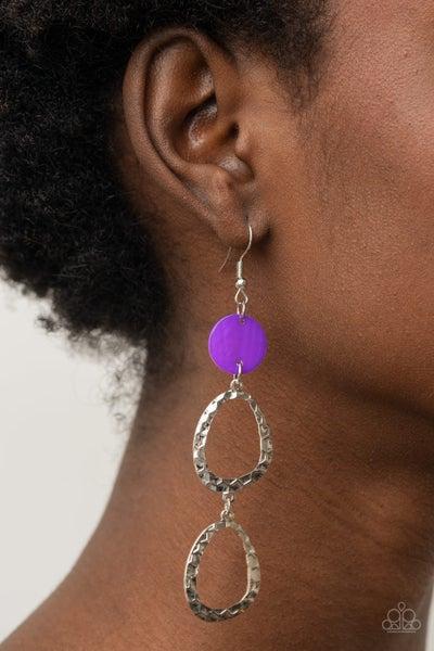 Pre-Order Surfside Shimmer - Purple shell-like disc anchors two hammered silver Hoops Earrings