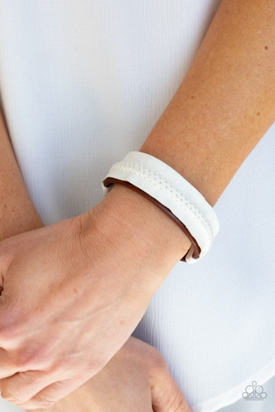 Country Craft Time - Red Leather with White Leather knotted overlay Snap Bracelet