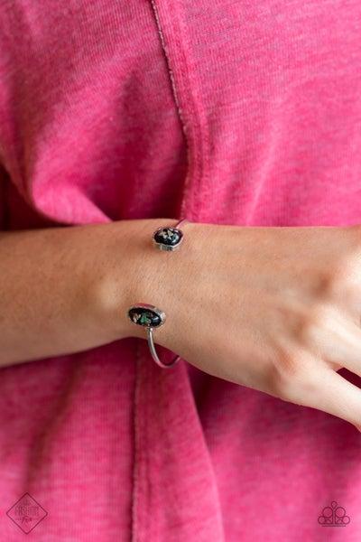 Dont BEAD Jealous - Iridescent Black shell-like glassy beaded reversed Cuff Bracelet