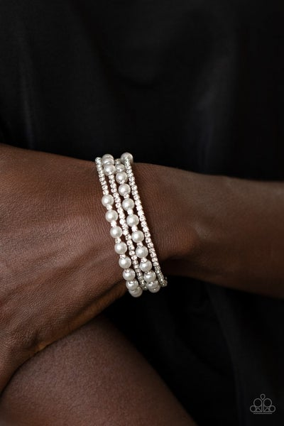 Starry Strut - White Pearl & Rhinestone Coil Wrap Bracelet - December 2020 Life of the Party Exclusive