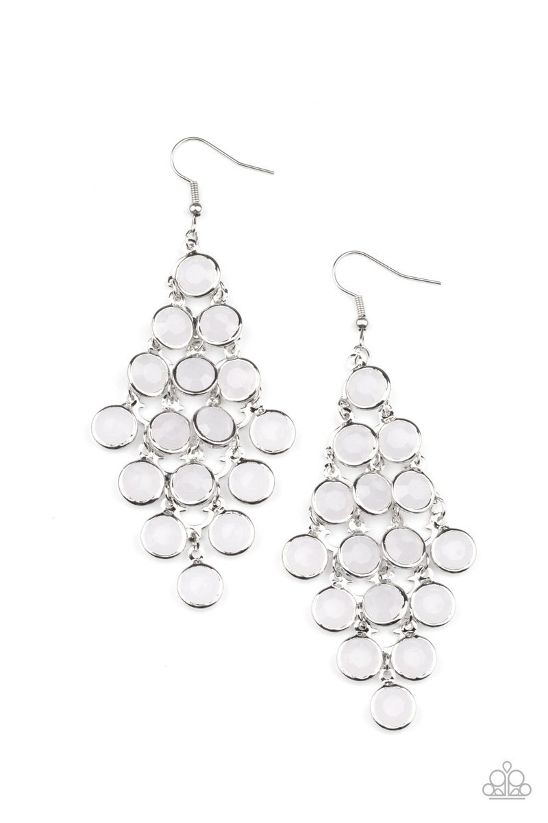 With All DEW Respect - Silver with White Moonstone chandelier Earrings