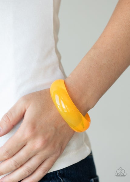 Major Material Girl - Orange Acrylic Bangle Bracelet