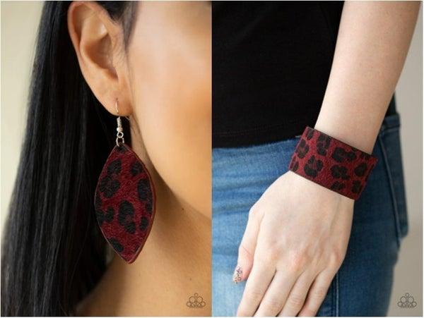 GRR-irl Power! & Cheetah Cabana - Red Cheetah Mohair Bracelet & Earrings Set