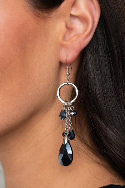 Glammed Up Goddess - Silver with Iridescent Metallic Blue Crystal Earrings