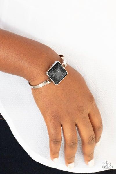 Pre-Sale Turning a CORNERSTONE - Silver with Black crackle stone Bracelet
