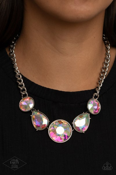 All The Worlds My Stage - Silver with large Multi Iridescent Gems Necklace & Earrings