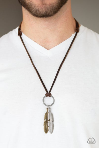Sky Walker - Brown Leather with dangling a Brass & a Silver Feather Necklace