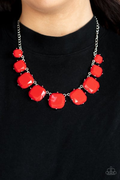 Pre-Order Prismatic Prima Donna - Red faceted Beads in Silver Necklace & Earrings