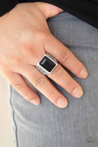 Winning Attitude - Black Glittery Regal Gem in textured Silver Adjustable Men's Ring