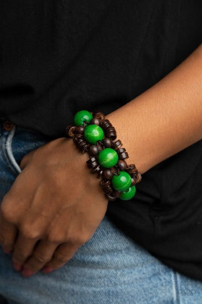 Tropical Temptations -  Brown with Green Wood Bead Stretch Bracelet