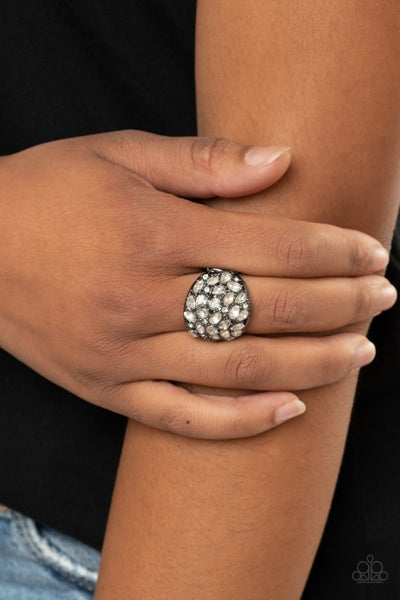 Pre-Sale - Here Comes the Boom! - Gunmetal with Rhinestones Ring