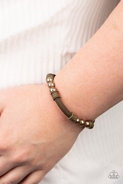 Talk Some SENSEI - Brass Mesh with Bead Stretch Bracelet