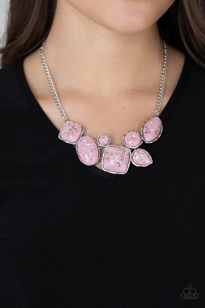 So Jelly - Pink Iridescent shell-like pieces encased in Silver frames Necklace & Earrings