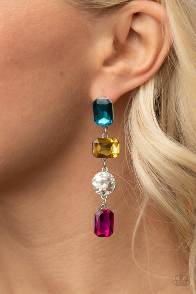 Pre-Order ​Cosmic Heiress - Multi-colored Rhinestones Earrings