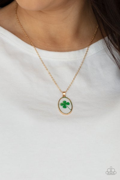 Make Your Own Luck - Gold with an encased Lucky Clover Necklace