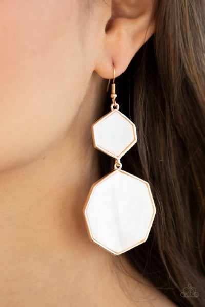 Pre-Order Vacation Glow - Rose Gold with White shell-like Earrings