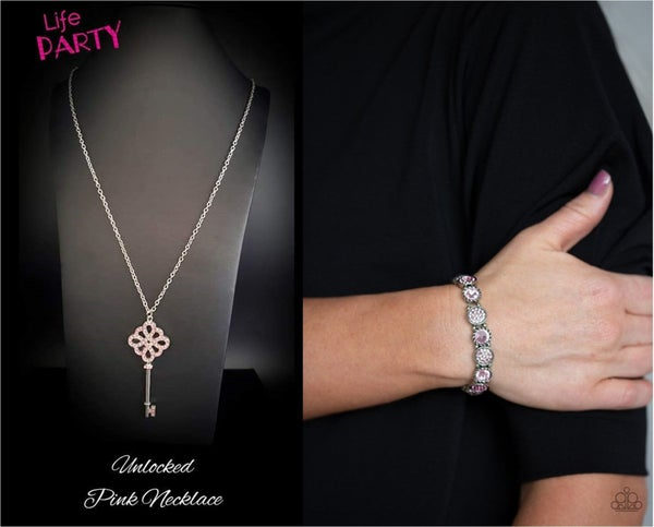 Unlocked (May 2020 Life of the Party Exclusive) & Take A Moment To Reflect - Silver with Pink Rhinestone Necklace & Bracelet Set